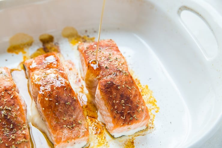 Baked Glazed Salmon in a casserole dish