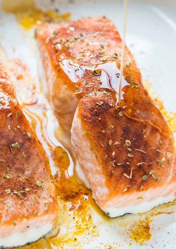 Drizzle pure maple syrup over salmon to make maple glazed salmon