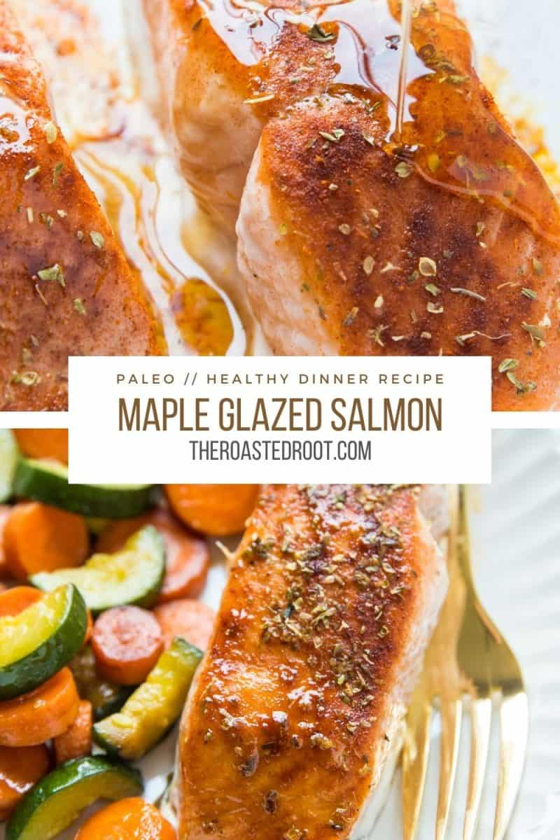 Maple-Glazed Baked Salmon made with a few simple ingredients. This healthy dinner recipe comes together quickly and is ultra tasty!