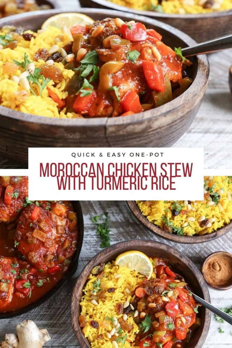 Quick and Easy Moroccan Chicken Stew Recipe with Ginger Turmeric Rice - a healthy, comforting dinner recipe