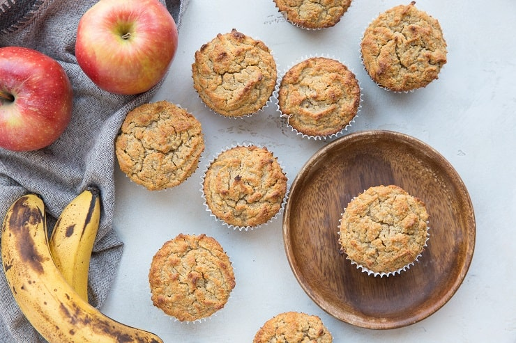 Healthy Apple Cinnamon Muffins Recipe made paleo-friendly with almond flour and no added sweeteners. Grain-free, refined sugar-free, dairy-free and healthy