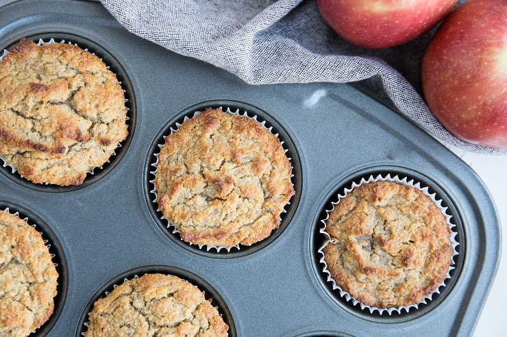 Apple cinnamon muffins in a muffin tray