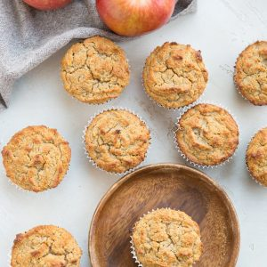Healthy Apple Muffins made with almond flour, sweetened with banana and apple. This grain-free, dairy-free, refined sugar-free apple cinnamon muffins recipe contains no added sweetener!