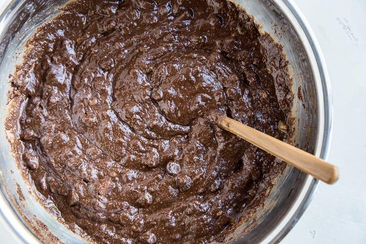 Cake batter for paleo chocolate banana breakfast cake