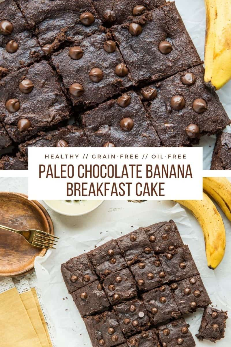 Healthy Grain-Free Chocolate Banana Breakfast Cake - paleo, gluten-free, dairy-free, oil-free and refined sugar-free
