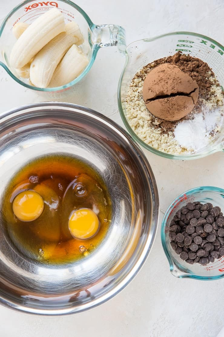 Ingredients for chocolate banana breakfast cake