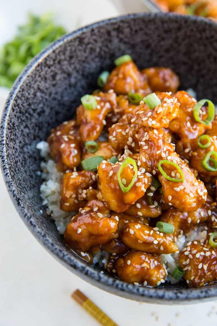 Healthy General Tso's Chicken made grain-free, paleo, refined sugar-free, and soy-free - an easy delicious chicken recipe