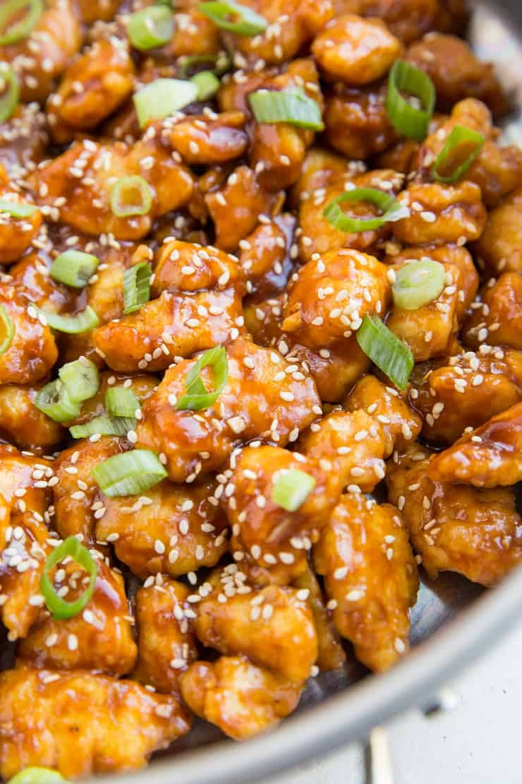 Healthier General Tso's Chicken made paleo-friendly - grain-free, refined sugar-free, soy-free and delicious