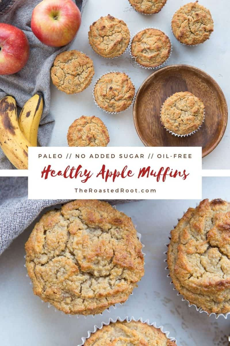 Paleo Healthy Apple Muffins - grain-free, oil-free, no added sweetener, dairy-free, moist, and delicious!