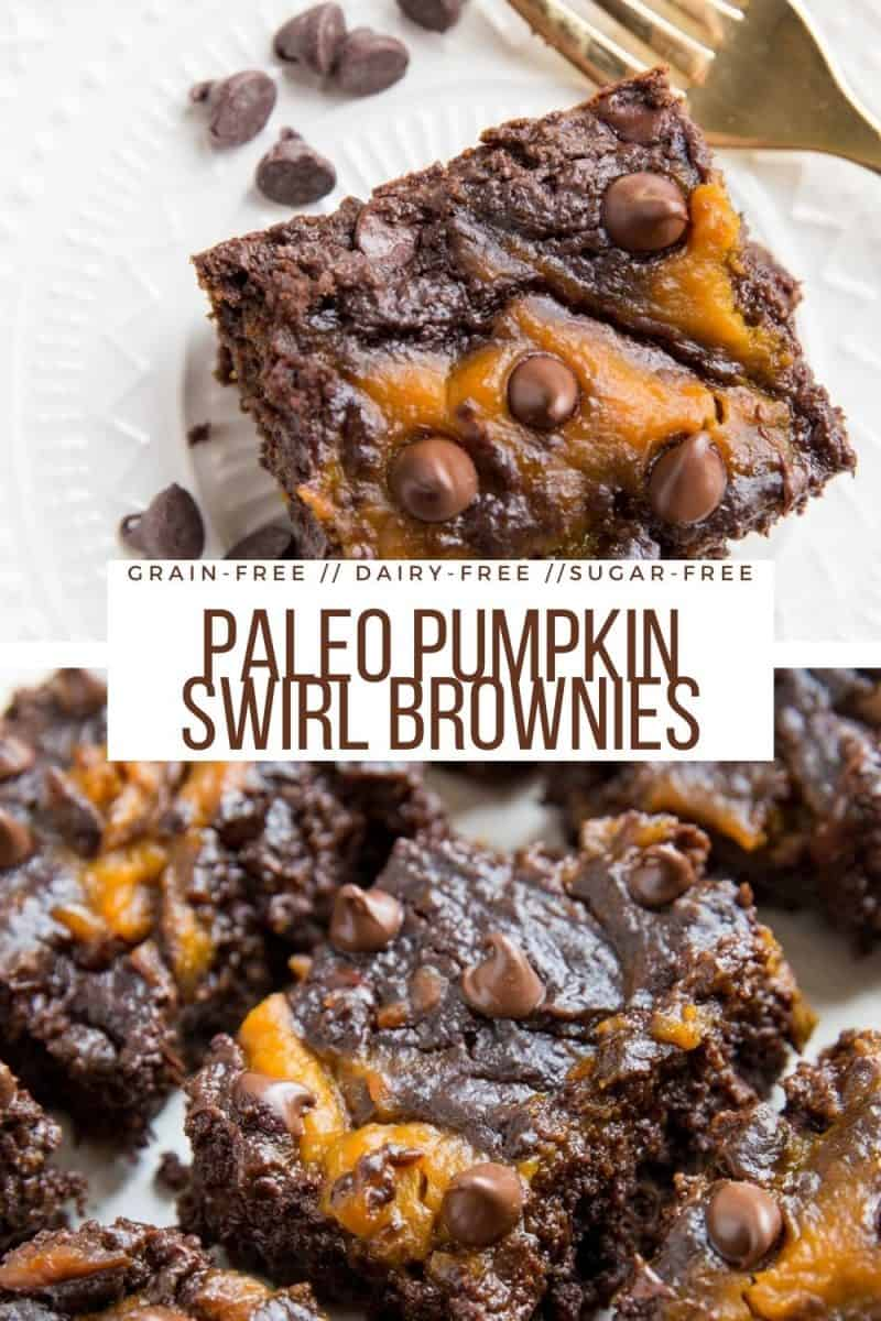 Paleo Pumpkin Swirl Brownies -grain-free, refined sugar-free, dairy-free, made with almond flour and coconut sugar. An easy healthy dessert recipe!