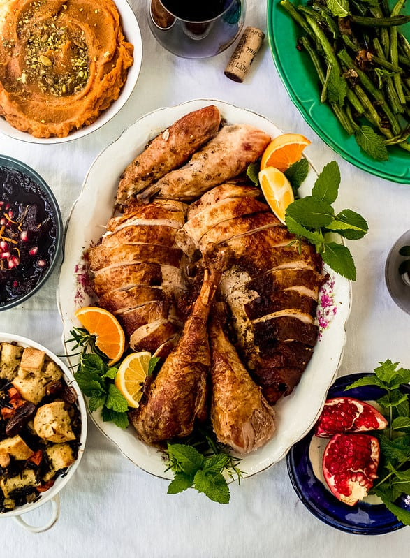 Roast Turkey with Citrus, Herbs and Za'atar from Little Ferraro Kitchen Amazing Thanksgiving citrus and herb roast turkey, seasoned with loads of aromatic za'atar, citrus zest and fresh herbs and then slathered with butter making it juicy and flavorful. You don't want to miss this otherworldly take on turkey!