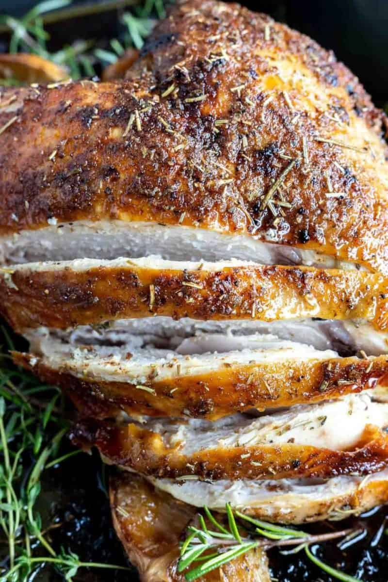 Oven-Roasted Turkey Breast from Wonky Wonderful - This Oven Roasted Turkey Breast Recipe with butter, dried herbs, garlic powder and onion powder is perfect for those small holiday menus. If you're hosting a small Christmas or Thanksgiving Dinner, this butter and herb turkey breast will be perfect!