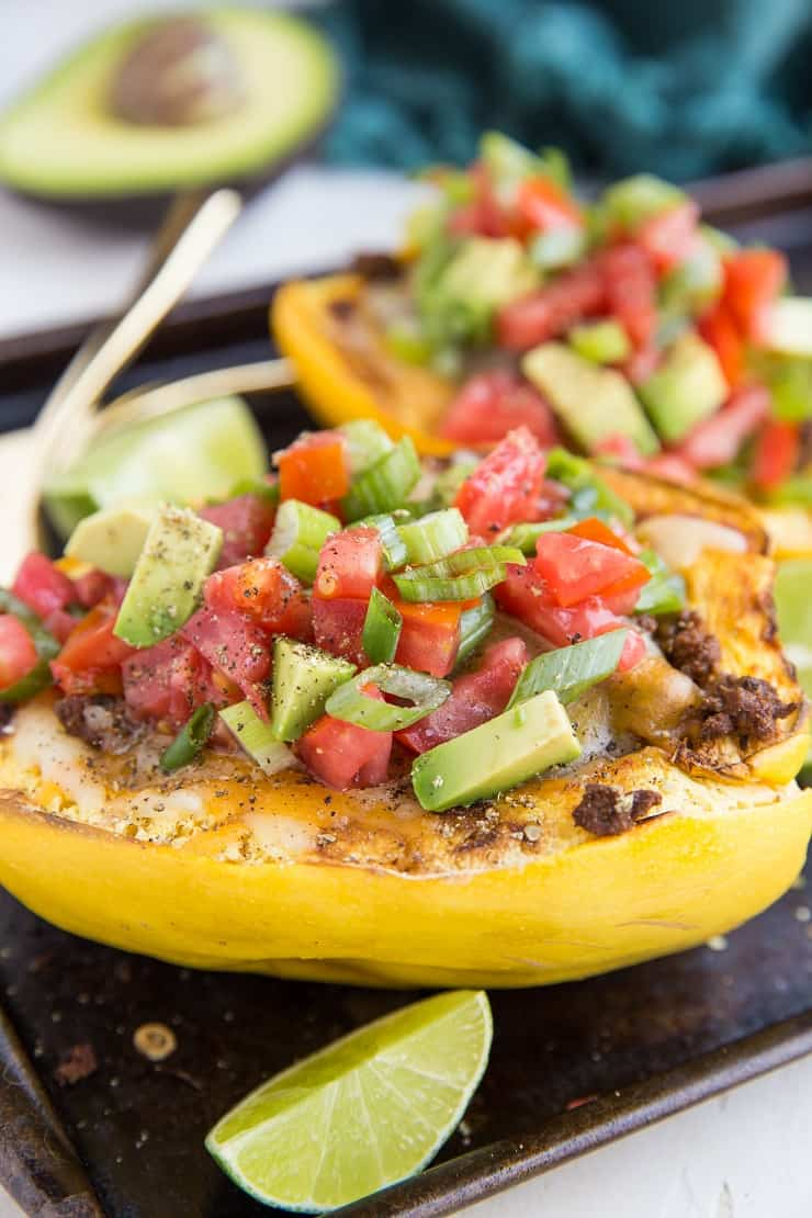 Keto Spaghetti Squash Burrito Bowls with Ground Beef, avocado, cheese, tomato and more for a healthy dinner recipe