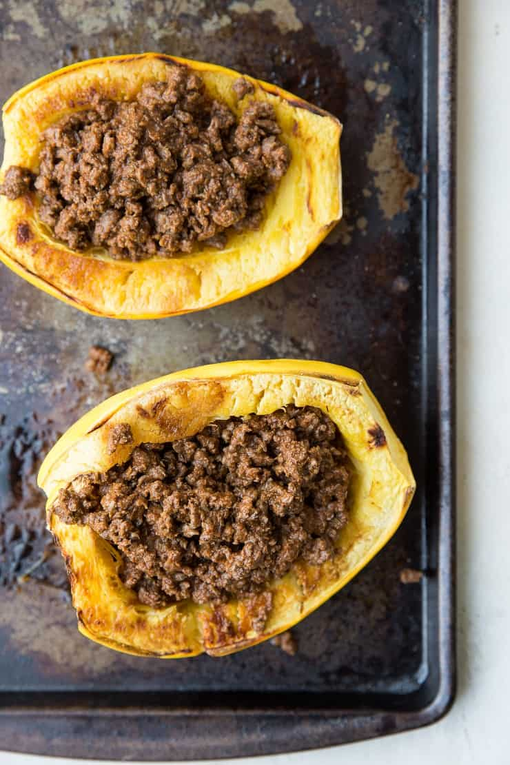 Spaghetti Squash stuffed with ground beef