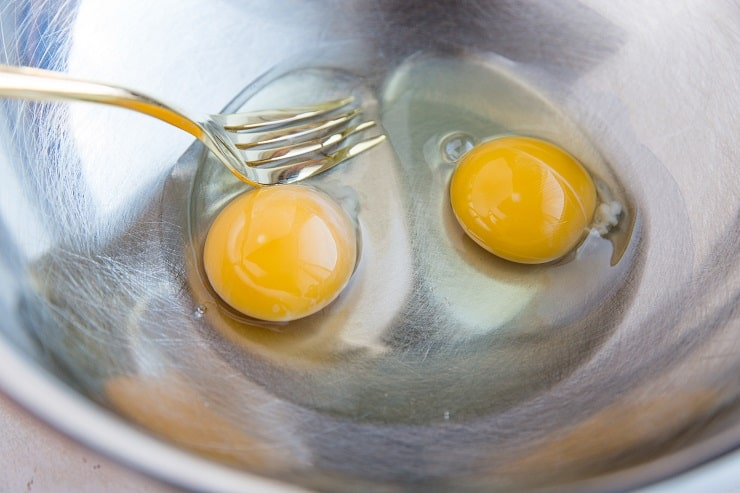 whisk the eggs, coconut oil, and cider vinegar in a bowl