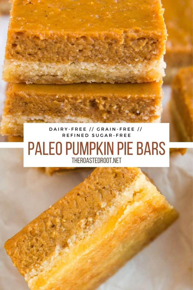 Healthy Pumpkin Pie Bars made grain-free, paleo, dairy-free, refined sugar-free and delicious! Tastes just like classic pumpkin pie!