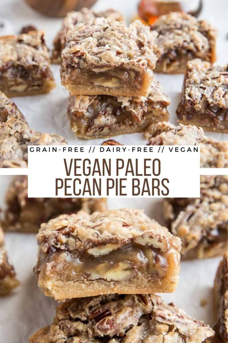 Paleo Vegan Pecan Pie Bars are a healthier version of classic pecan pie. Caramel-slathered pecans on top of grain-free shortbread crust is an amazing treat. Dairy-free, sweetened with pure maple syrup #glutenfree #dairyfree #vegan #paleo #paleorecipes #paleolifestyle #healthylifestyle #healthydessert #holiday #thanksgiving