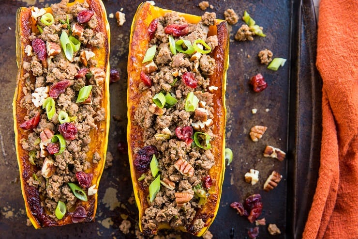 Ground Beef Stuffed Delicata Squash with cranberries and pecans - paleo, whole30, healthy clean dinner recipe