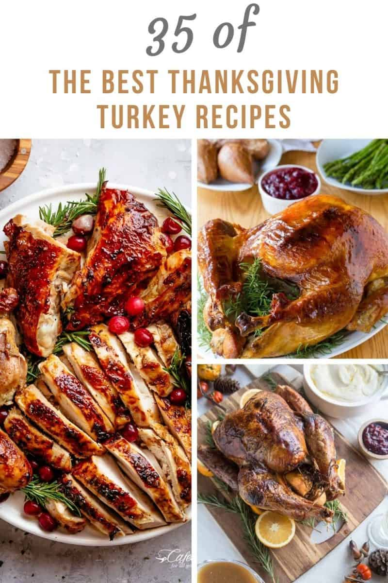 35 of THE BEST Thanksgiving Turkey Recipes from around the web. Everything from roasted, smoked, spatchcook, sous vide and more! Healthy, mouth-watering tender turkey recipes