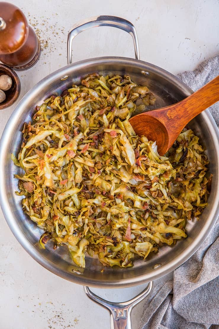 Caramelized Cabbage Recipe with Bacon, onions, and garlic - a healthy, easy side dish