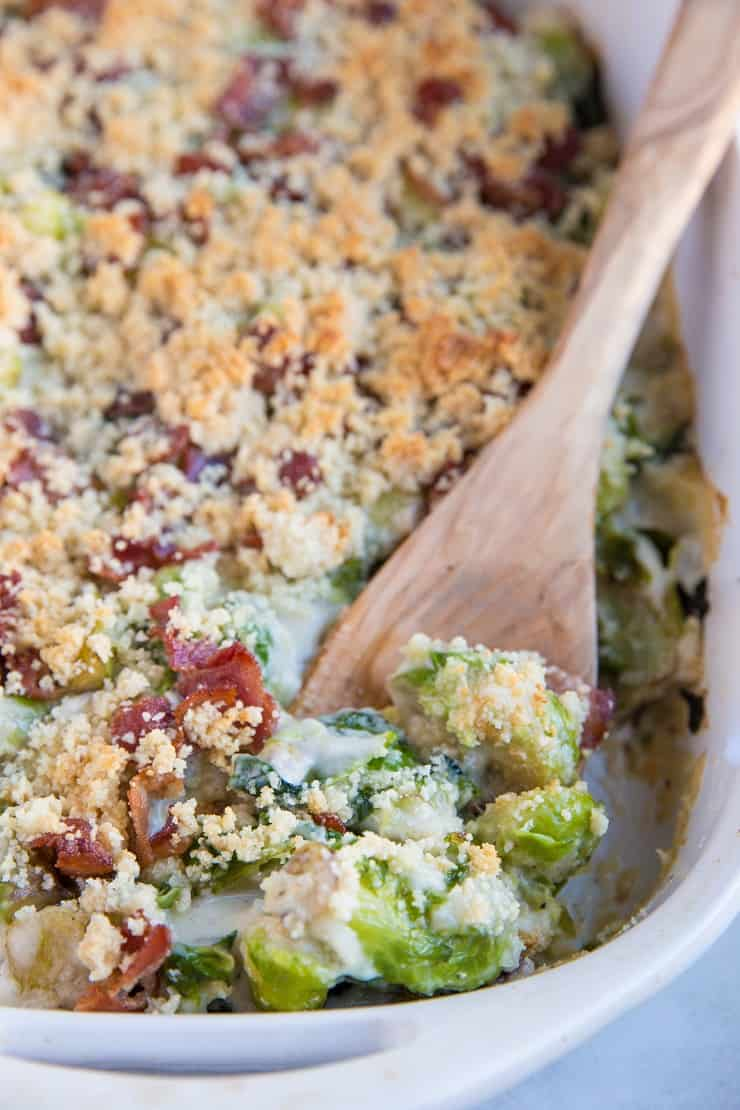 Grain-Free Keto Brussel Sprout Casserole with Bacon - cheesy brussel sprouts are an amazing side dish