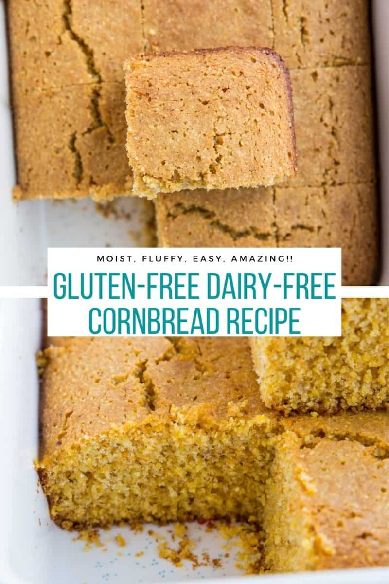 Dairy-Free, Gluten-Free Cornbread recipe that is ultra moist, fluffy, and amazing! Serve it up alongside anything!