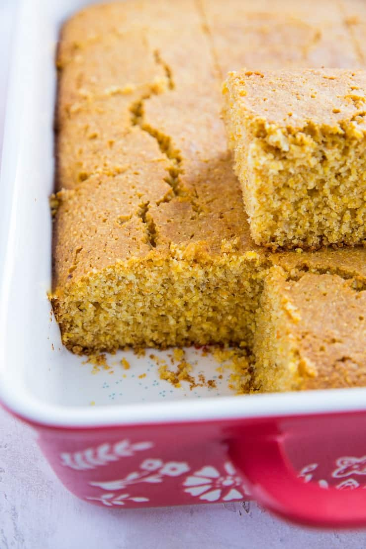 Dairy-Free Gluten-Free Cornbread Recipe that is easy to prepare and is SO moist, fluffy and delicious! A great side dish to any meal!