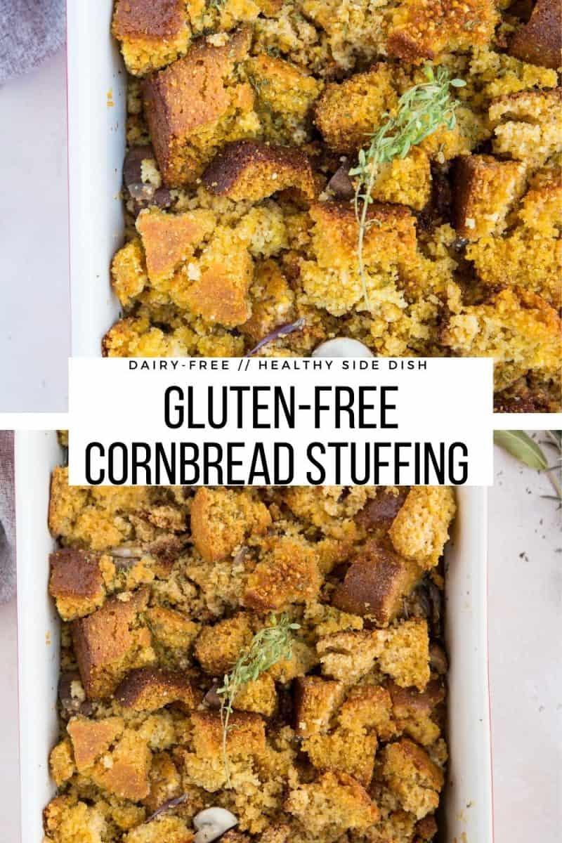 Gluten-Free Dairy-Free Cornbread Stuffing for Thanksgiving - a healthier cornbread recipe