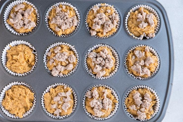 Gluten-free pumpkin muffins with streusel