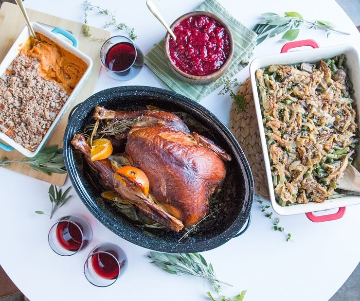 Thanksgiving turkey spread with side dishes