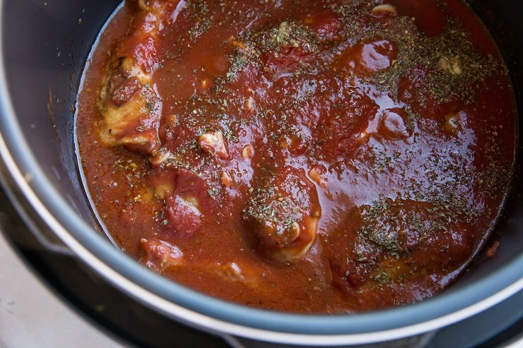 Add the broth, tomato sauce and seasonings to the instant pot