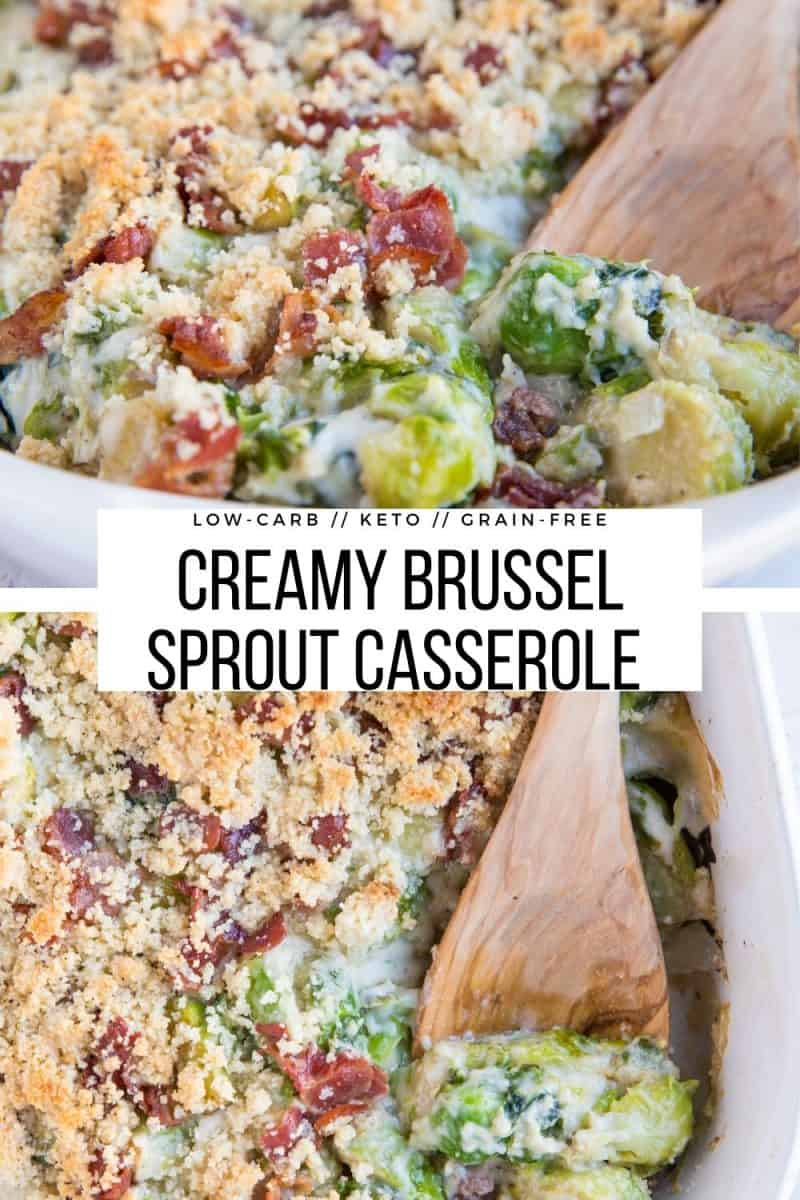 Keto Brussel Sprout Casserole (or Brussel Sprouts Au Gratin) is a cheesy, creamy, healthy side dish perfect for your holiday gathering!