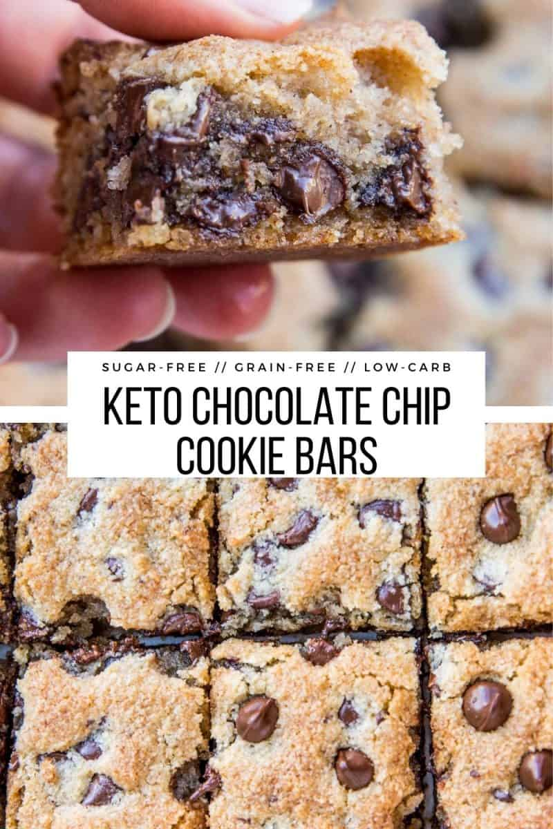 Almond Flour Grain-Free Keto Chocolate Chip Cookie Bars made with almond flour and sugar-free sweetener - perfectly gooey, chewy and crispy low-carb dessert recipe