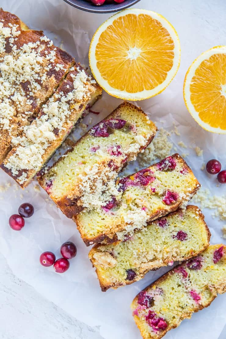 Grain-Free Low-Carb Cranberry Orange Bread - sugar-free, made with coconut flour