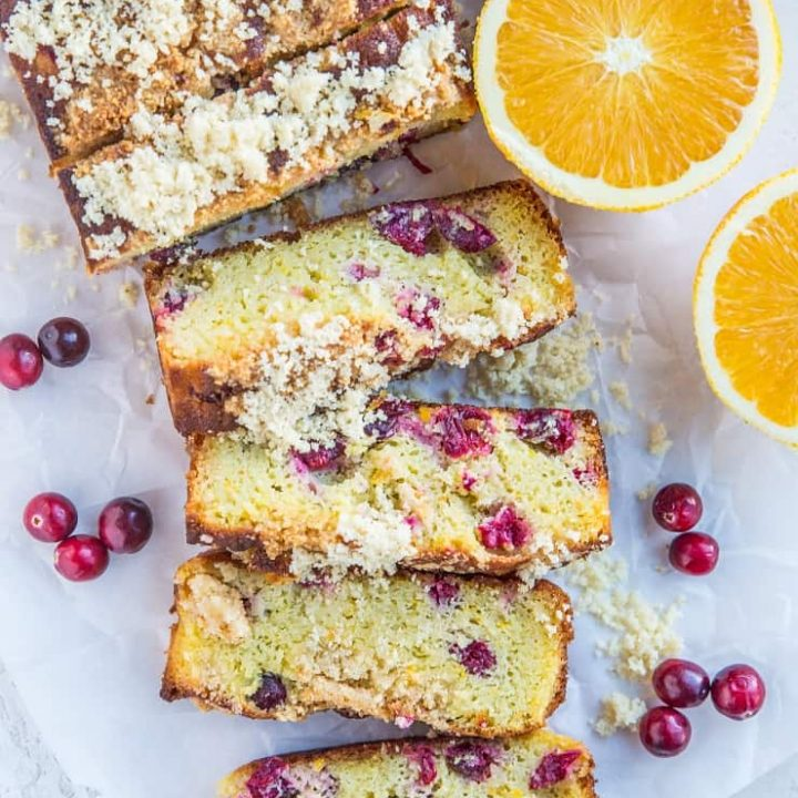 Keto Cranberry Orange Bread made with coconut flour - grain-free, sugar-free, moist, fluffy, delicious!