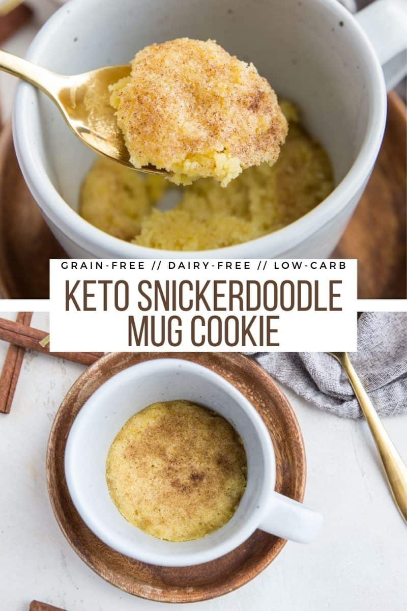 Keto Snickerdoodle Mug Cookie - low-carb, grain-free, sugar-free, dairy-free single-serve dessert recipe in a mug! Tastes just like a traditional Snickerdoodle!