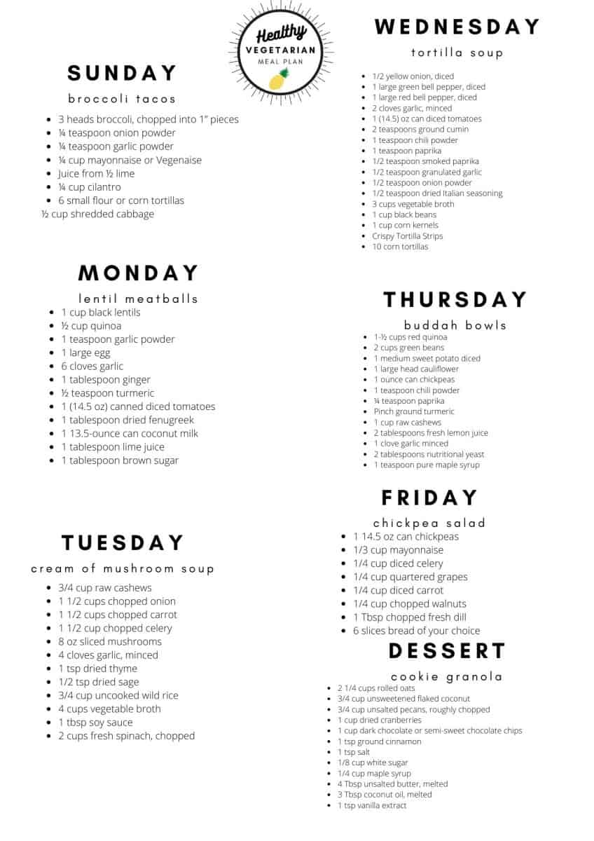 Vegetarian Meal Plan Shopping List 11-22