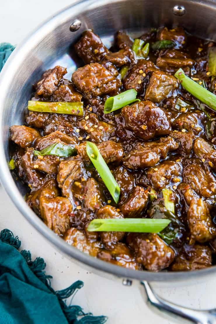 Quick and Easy Paleo Mongolian Beef ready in 30 minutes! Easy, soy-free, grain-free, refined sugar-free better than takeout
