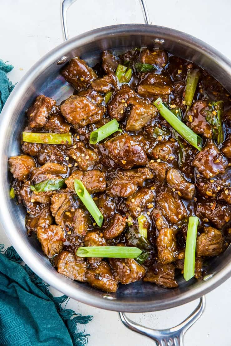 Paleo 30-Minute Mongolian Beef - an easy recipe for Mongolian beef that is soy-free, refined sugar-free and healthier! Crispy beef in amazing sauce? Who could resist?