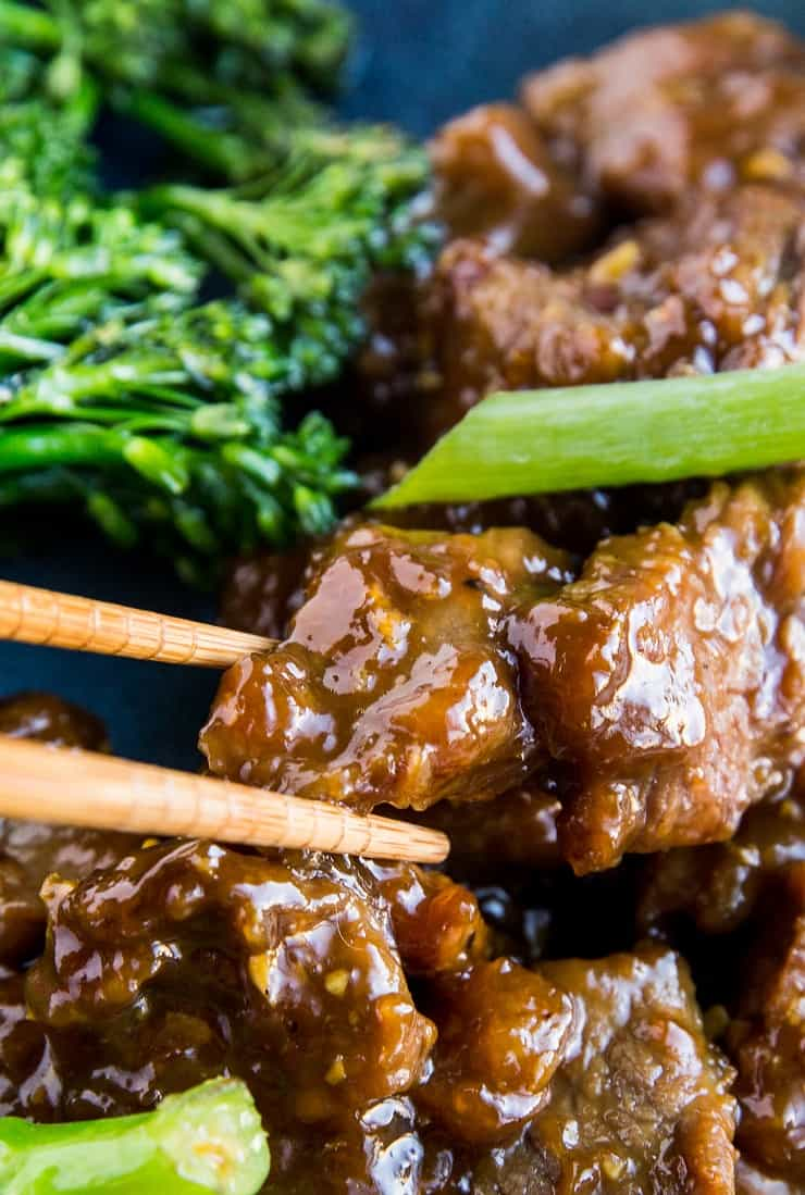 Easy Mongolian Beef Recipe that is healthier than takeout - Paleo-friendly, grain-free, refined sugar-free and soy-free.