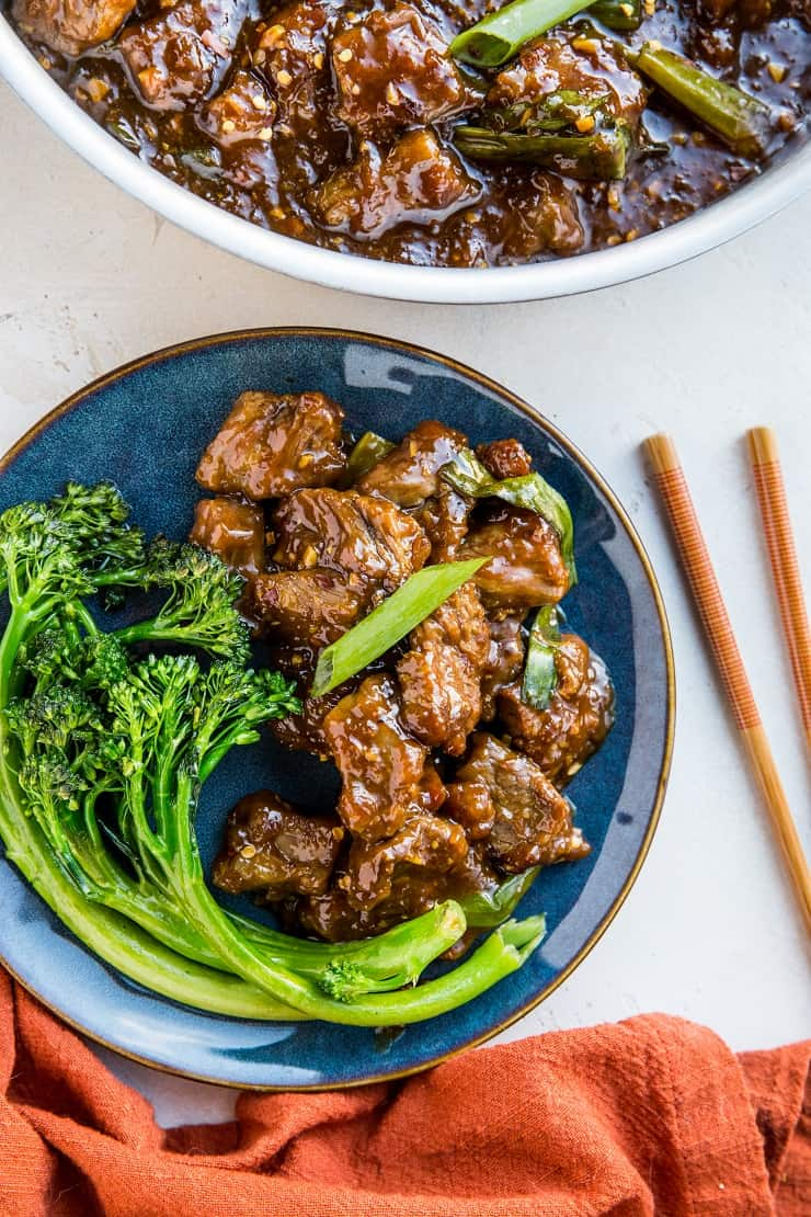 Healthier Mongolian Beef made paleo-friendly - soy-free, refined sugar-free, crispy, tender beef in an amazing sauce. Make it in 30 minutes!