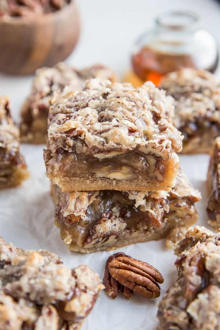 Paleo Pecan Pie Bars - grain-free, refined sugar-free, dairy-free healthier pecan pie bars made with almond flour. A delicious cleaner dessert recipe!