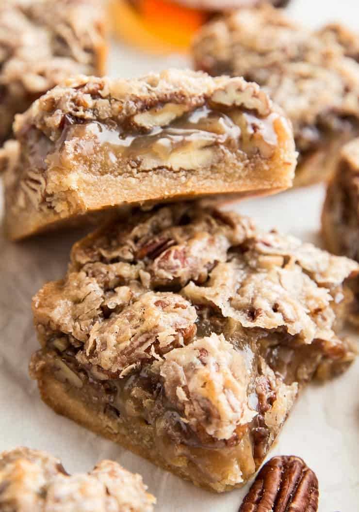 Grain-Free Paleo Pecan Pie Bars - vegan, dairy-free, gluten-free, refined sugar-free, healthy dessert recipe