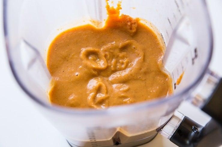 Blend ingredients for pumpkin pie filling in a blender