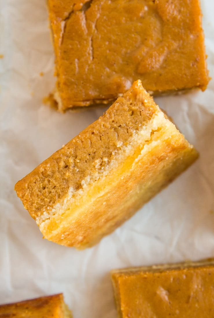 Healthy Paleo Pumpkin Pie Bars - easy to make, grain-free, dairy-free, and delicious!