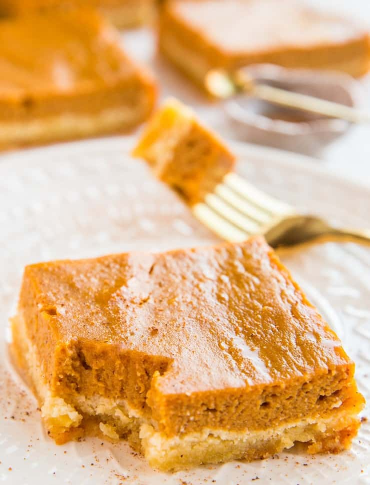 Grain-Free Dairy-Free Pumpkin Pie Bars - paleo, sweetened with pure maple syrup for a healthier treat