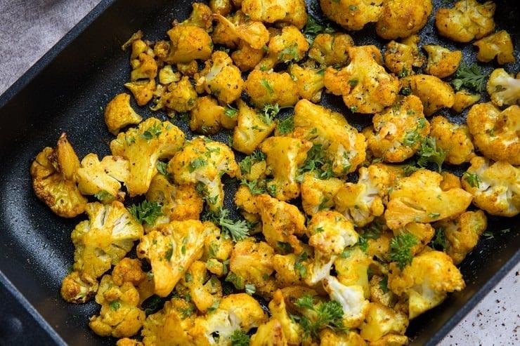 Easy Turmeric Roasted Cauliflower - keto, paleo, whole30, low-carb, amazing
