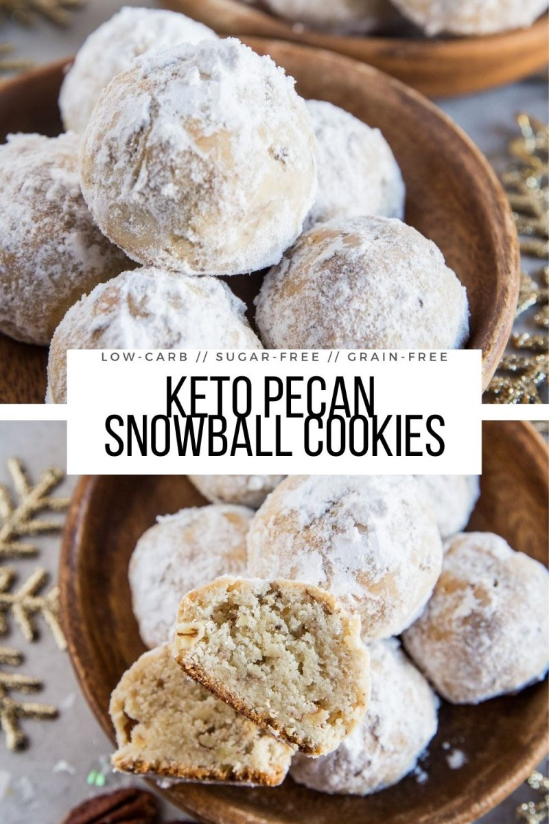 Keto Snowball Cookies - low-carb pecan snowballs made grain-free, sugar-free, and delicious! A healthier holiday dessert recipe