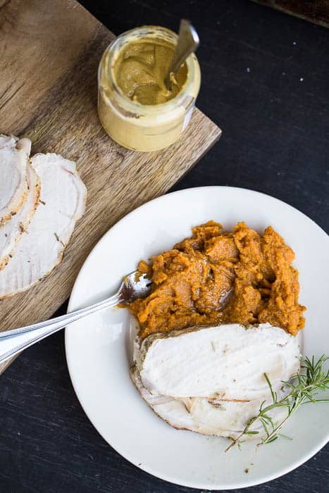 Mustard-Herb Pork Loin with Maple Butternut Mash