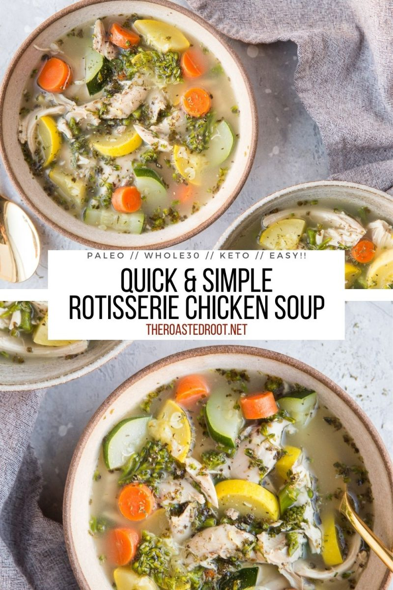 Rotisserie Chicken Soup made with only a few simple ingredients - pick up a rotisserie chicken at the store and make the best chicken soup ever!